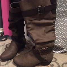 Rue Brown Boots Size 8. Worn once and didn't like the way it fit me. Perfect condition. Rue 21 Shoes
