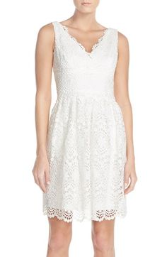 Adrianna Papell Floral Lace Fit & Flare Dress