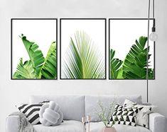 Tropical Leaf Prints Set of 3 Palm Leaves Banana Leaf Botanical Art Green Wall art Boho Decor Minimalist art Scandinavian Posters Foliage