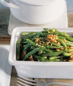 Green Beans with Walnut Pesto . . . good!