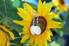 Handmade Natural Shell, Czech Glass, Zebra Jasper and Sterling Earrings. Sterling silver filagree star, beachy earrings, blue white earrings - pinned by pin4etsy.com