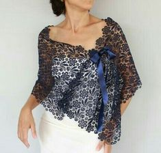 Ultramarine Cotton Lace Stole Dark Navy Blue by mammamiaeme Lingerie Look, Crochet Poncho, Cotton Lace, Mode Inspiration, Mode Style, Womens Fashion, Fashion Trends, Fashion Dresses, The Dress