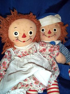 Raggedy Ann And Andy Dolls   Pair of 1940s Georgene Raggedy Ann and Andy from onceagainantiques on ...