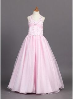 A-Line/Princess Floor-length Flower Girl Dress - Organza/Satin Sleeveless Halter With Beading