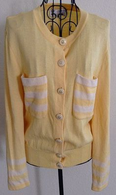 St. John Collection by Marie Gray Cardigan Sweater Top Blouse Yellow Stripe 10 #StJohn #CardiganTop