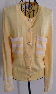 St. John Collection by Marie Gray Cardigan Sweater Top Blouse Yellow Stripe 10 #StJohn #CardiganTop
