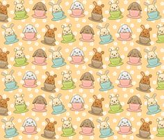Buns in Teacups fabric by greencouchstudio on Spoonflower - custom fabric  fat quarter $11