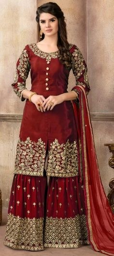 Buy Pakistani Suits online from Tithli Fashion. Shop from a fascinating collection of Pakistani Shalwar Kameez & Designer Suits. Divine Maroon Color Pure Viscose Upada Silk Embroidered Party Wear Pakistani Suit Make heads turn by donning this splendid ma Pakistani Bridal Dresses, Pakistani Dress Design, Pakistani Suits, Indian Dresses, Indian Outfits, Pakistani Culture, Indian Clothes, Wedding Dresses, Designer Party Wear Dresses