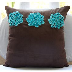 Turq Blooms - Pillow Sham Covers -  24x24 Inches Suede Pillow Sham Cover with Turquoise Velvet Flower