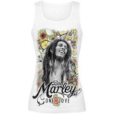 "Kesäinen Bob Marley ""Flower""-girlie-toppi), 100% puuvillaa."