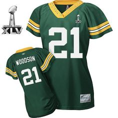 Packers #21 Charles Woodson Green Women's Field Flirt Bowl Super Bowl XLV Embroidered NFL Jersey! Only $19.50USD