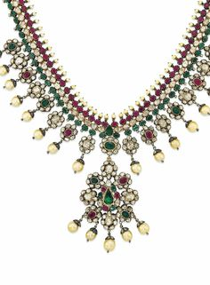 AN INDIAN RUBY, EMERALD, CULTURED PEARL AND DIAMOND NECKLACE