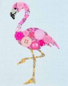 Button Art Pink Flamingo - Pink Flamingo Wall Hanging, Flamingo Art Home Decor…