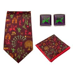 Warli Village Fashion Ties-Pocket Squares-Cufflinks Gift Set : This exciting gift set brings alive one of the most beautiful and traditional arts of India – Warli painting! Wear the different accessories that are there in this gift set, and get ready for all the compliments!