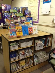 Love the book display on top- would be great to display books that are aligned with current unit
