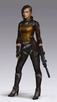 Concept Art of a female future soldier by Mitchell Mohrhauser