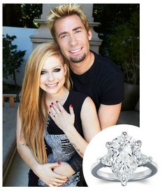 """Congrats to Avril Lavigne and Chad Kroeger, frontman of Nickelback! The """"Girlfriend"""" singer met and started developing romantic feelings for Chad Kroeger Celebrity Engagement Rings, Celebrity Couples, Celebrity Weddings, Celebrity News, Celebrity Jewelry, Celebrity Rings, Hollywood Couples, Engagement Pictures, Celebrity Gossip"""