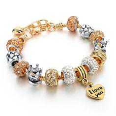 Szelam Heart Charm Bracelets For Women Snake Chain Gold Plated Bracelets & Bangles Fashion Jewelry