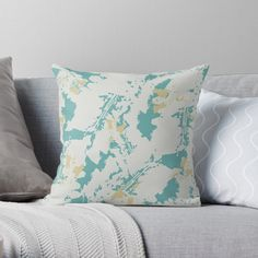 Designs, Teal, Pastel, Leaves, Throw Pillows, Abstract, Muted Colors, Products, Summary