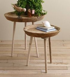 The Takara Round Table is a slim side table that fits in snug areas and provides the perfect place for books or a coffee cup. Three simple legs form the base… Slim Side Table, Tall Side Table, Side Table Decor, Wooden Side Table, Farmhouse Side Table, Table Decorations, Table Diy, Zweisitzer Sofa, Side Tables Bedroom