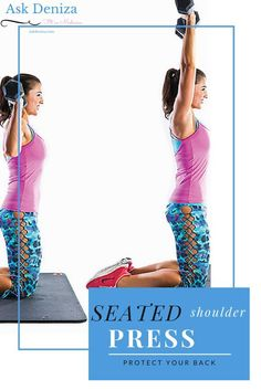-fitness -fitnesstips -workout -lifestyle -workouttips -healthyliving -muscle -exercise Protect your spine and work your shoulders, glutes and core by doing the shoulder press in a kneeling position! http://askdeniza.com/kneeling-shoulder-press/