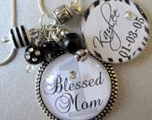 Blessed Mom, Nana, Aunt, etc. PERSONALIZED Children's Names Glass Silver Pendant Neckalce - Mom, Grandma, Nana