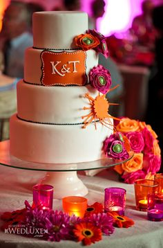 Bright and fun monogrammed cake. Lisa Vertefeuille from The Flour Pot.