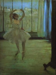 Edgar Degas. Dancer at the Photographer's. 1870s  Oil on canvas.  The Pushkin Museum of Fine Art,  Moscow, Russia.