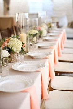 peach and cream wedding table Wedding Centerpieces, Wedding Decorations, Table Decorations, Centrepieces, Rectangle Table Centerpieces, Pale Dogwood, Trendy Wedding, Wedding Day, Summer Wedding