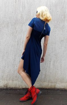 Navy Flared Dress / Denim and Viscose Dress / NEW 2015 by Teyxo