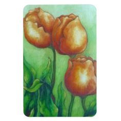 Three tulips magnet - floral style flower flowers stylish diy personalize