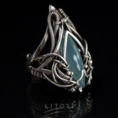 BASINUS sterling silver ring with chalcedony. Gift for by Litori