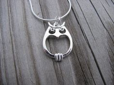 Super cute funky silver owl necklace