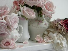 .Beautiful roses ... beautiful containers.... #roses #pink