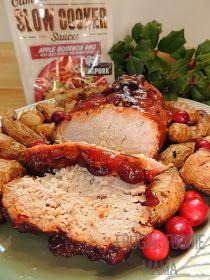Slow Cooker Apple-Cranberry Bourbon BBQ Pork Loin Roast via thefrugalfoodiemama.com