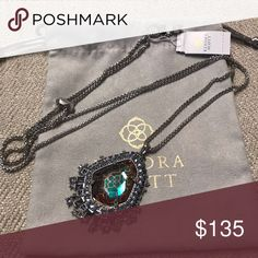 9b9c0dac0 NWT Kendra Scott Daenerys Necklace DETAILS The Daenerys Silver Long Pendant  Necklace in Gray Dichroic Glass