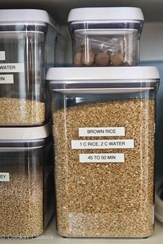 How to Organize Your Pantry [Tutorial] : I love they way she put labels on the containers indicating how to cook that item.