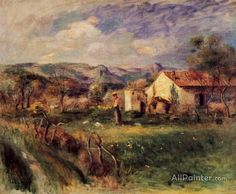 Pierre Auguste Renoir Young Woman Standing Near A Farmhouse In Milly oil painting reproductions for sale