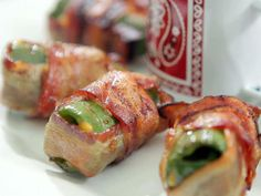 Jalapeno Pepper Poppers by Sandra Lee, foodnetwork: Stuffed with cheese and wrapped with bacon. #Appetizer #Jalapeno_Pepper #Bacon
