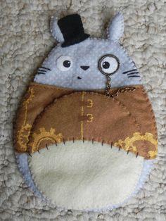 Steampunk Totoro felt pouch.