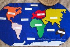 Montessori Geography Trays -- DIY Felt World Map with labels