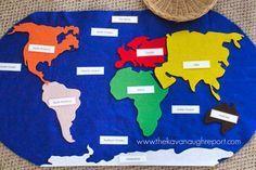 Montessori Geography Trays -- DIY Felt World Map with labels