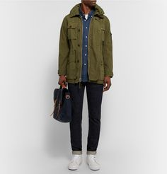 Field jacket with blue flannel button down