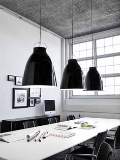 The eye-catching, high-gloss lacquer Caravaggio pendants were launched in 2006 and instantaneously gained a status as a design icon. With Caravaggio, designer Cecilie Manz combines a recognizable shap Berlin Design, Black Lamps, Office Interiors, Interior Inspiration, Room Inspiration, Design Inspiration, Decoration, Designer, Arquitetura