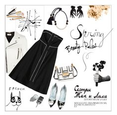 """""""Spring Dress Black & White"""" by akchesunel ❤ liked on Polyvore featuring Bobbi Brown Cosmetics, House by John Lewis, Areaware, NOVICA, Yves Saint Laurent, Raoul, Lanvin, Chiara Ferragni, Dolce&Gabbana and chic"""