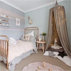 spruce up a girls bedroom and guarantee theyll love the design even as they get older. Rose quartz are incorporated on the bedside table, bedspread, rug and wall accents, and the Serenity blue is used on the wall.