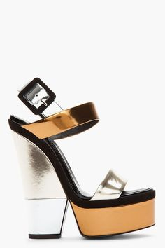 GIUSEPPE ZANOTTI Silver Colorblocked Metallic LEather 115 Cut-Out Wedges