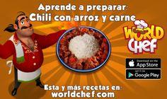 ¡He aprendido a cocinar Chili con arroz y carne! ¡Descárgate gratis World Chef para cocinar tú también!:  https://itunes.apple.com/app/id1010677881  #WorldChef