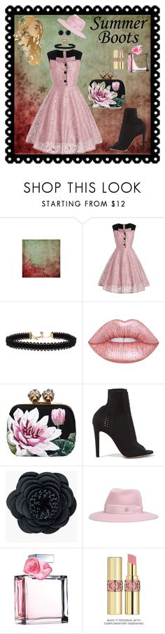 """lace dress"" by georgine-d ❤ liked on Polyvore featuring Vanessa Mooney, Lime Crime, Gianvito Rossi, Chico's, Maison Michel, Ralph Lauren and Yves Saint Laurent"