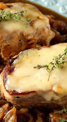 French Onion Pork Chops ~ All the flavors you love of a traditional French onion soup are captured in this recipe for French Onion Pork Chops.